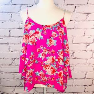 Anthropologie Paper Crane - Hi/Low Floral Tank Top